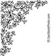 Refined Floral vignette 414 Eau-forte decorative vector illustration