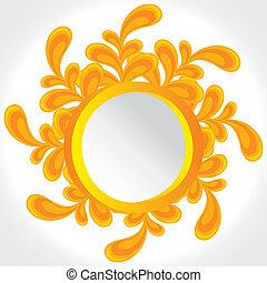 floral, vindima, amarela