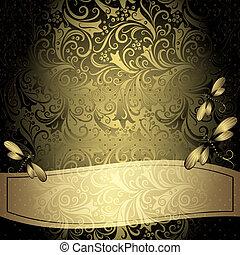 floral, vindima, black-gold, quadro