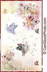floral, vindima, borboletas, fundo