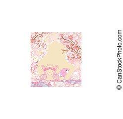 floral, vindima, carruagem, -, cartão