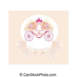 floral, vindima, carruagem, convite