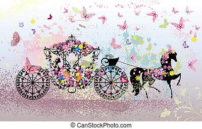 floral, vindima, carruagem