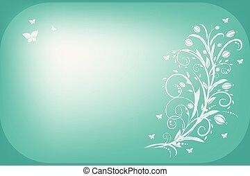 floral, vindima, cartão cumprimento