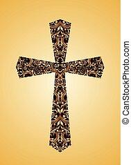 floral, vindima, cristão, crucifixos, padrão