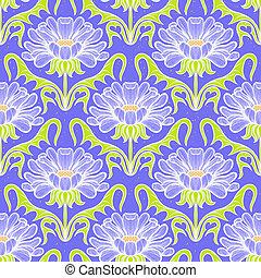 floral, vindima, damasco, padrão