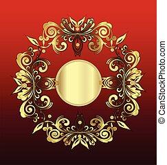 floral, vindima, decoração, ouro