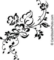 floral, vindima, desenho