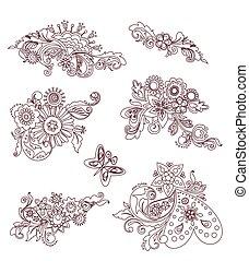 floral, vindima, elementos, desenho, mehndi