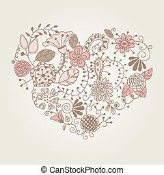 floral, vindima, forma, coração