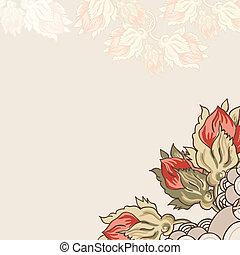 floral, vindima, fundo