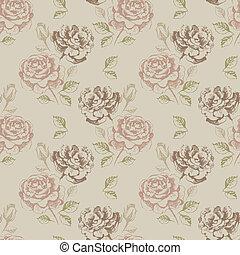 floral, vindima, padrão, seamless, rosas
