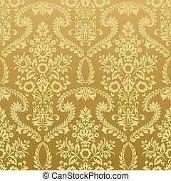 floral, vindima, papel parede, seamless, ouro