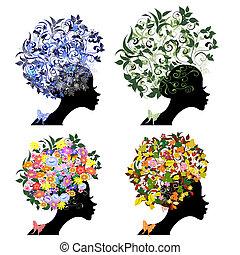 floral, vindima, penteado, estações