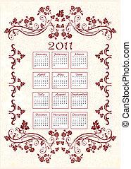floral, vindima, quadro, 2011, calendário