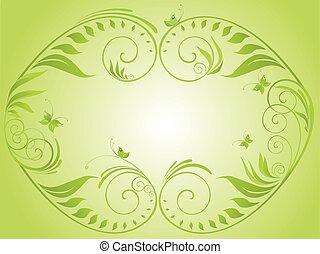 floral, vindima, quadro, verde