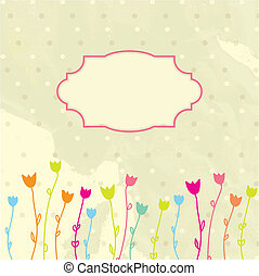 floral, vindima, quadro, vetorial, fundo