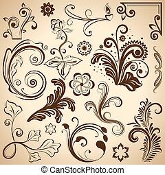 floral, vindima, vetorial, desenho, elements.