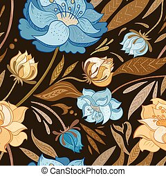 floral, vindima, vetorial, padrão