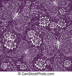 floral, vindima, violeta, padrão