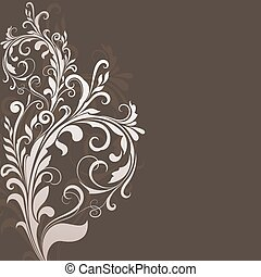 Floral vintage brown vector background with copy space.