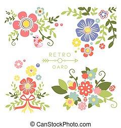 Floral Vintage Elements for Cards and Decor. Vector Set