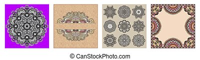 floral vintage frame, indian kalamkari ethnic style