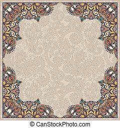 floral vintage frame, ukrainian ethnic style. Vector illustratio