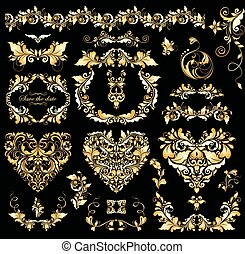 Floral vintage golden design with heart shapes for wedding invitations