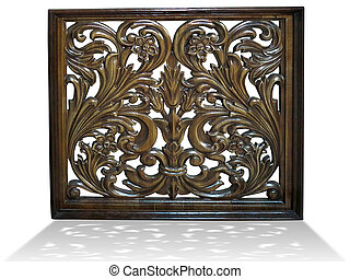Floral vintage pattern carved in brown wood isolated over white