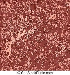Floral vintage seamless background with hearts