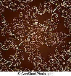 Floral vintage seamless pattern on brown background. Vector...