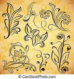 Floral vintage vector design elemen