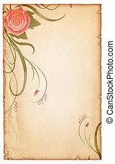 Floral vintagel background.Old paper scroll with pink rose -...