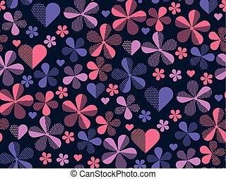 floral, violeta, geométrico, resumen, patrón, para, tela