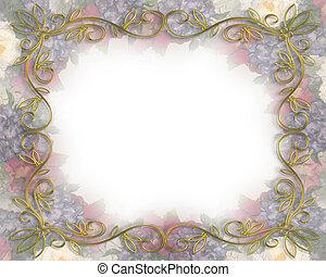 floral, vitoriano, bord, enfraquecido, casório