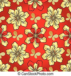 Floral vivid red seamless pattern