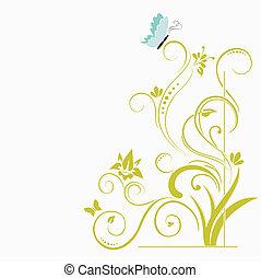 floral, vlinder, achtergrond