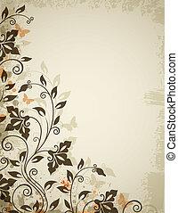 floral, vlinder, bloemen, achtergrond