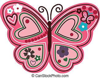 floral, vlinder, illustratie