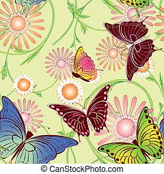 floral, vlinder, seamless, model