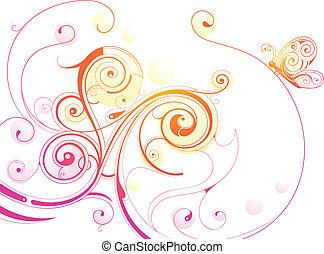 floral, vlinder, swirls