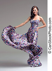 floral, vrouw, jurkje