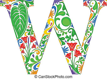 Colorful floral initial capital letter W