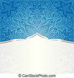 Floral Wallpaper Background mandala design in dark Blue with copy space