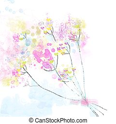 Floral watercolor abstract background for the card or invitation - cute design