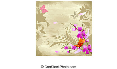 floral watercolor background with cherries