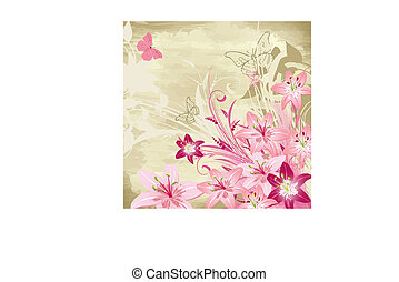 floral watercolor background with lilies