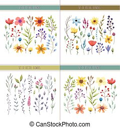Floral watercolor collection with leaves and flowers. Wedding collection