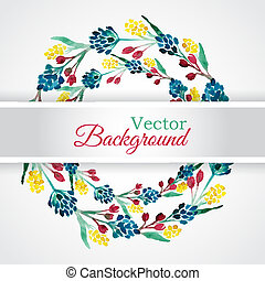 Floral watercolor wreath with flowers